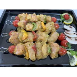 BROCHETTE DE POULET MARINE Curry et Gingembre